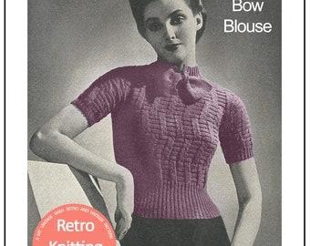 1930s Blouse Vintage  Knitting Pattern - PDF Knitting Pattern - PDF Instant Download