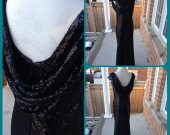 Black sequin dress, black bridesmaid dress - CLEARANCE