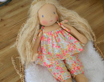 Jumpsuit in liberty for a waldorf doll 14 inches - 35cm