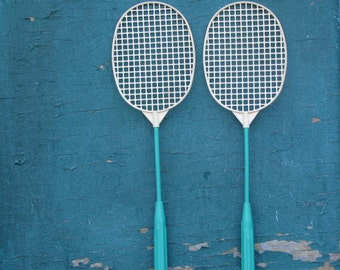 Vintage Pair of Plastic Turquoise Green Badminton Rackets- Made in USSR
