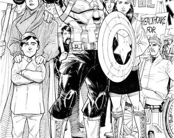 """ORIGINAL ART, Captain America """"No, YOU move."""" by Tom Hodges"""