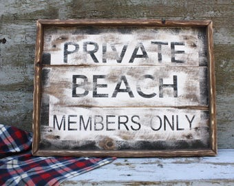24x18 Private Beach Sign Framed Wood Sign Weathered Wood Sign Beach Decor Wood Beach Sign Members Only Beach House Decor Large Wood Sign