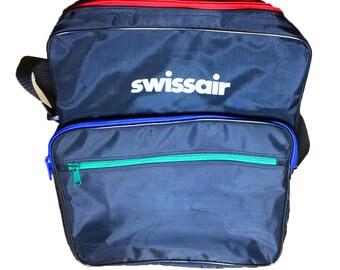 Vintage Travel Bag - Swiss Air - 80's Messenger bag - Black Messenger bag