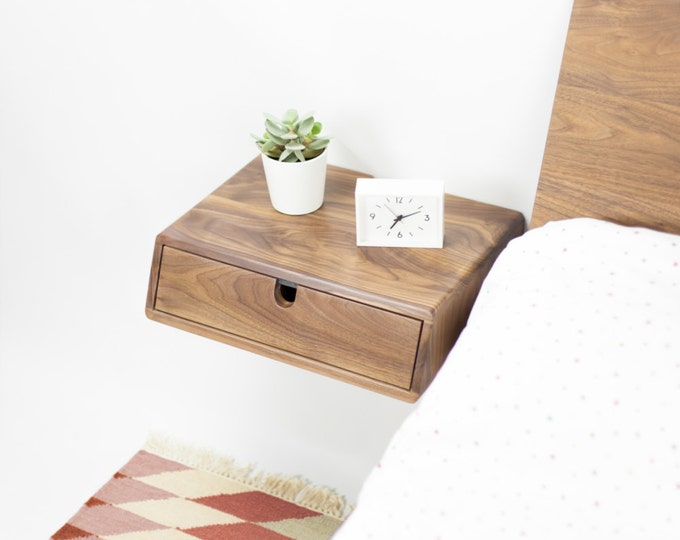 Floating nightstand bedside table 1 drawer in solid walnut, style mid century modern