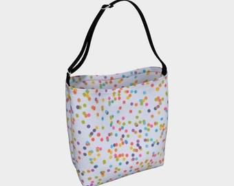 Polka Dot Tote Bag/Tote Bag/Market Bag/Beach Tote/White/Blue/Pink/Yoga Bag/Day Tote Bag/Made to Order