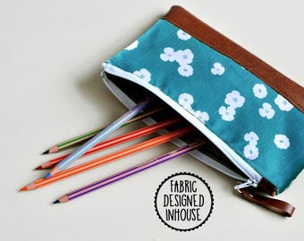 Recycled Brown Leather Pencil Case, Zipped Pouch, Make Up Bag, Accessory Bag Pencil Pouch Stationery Holder, Coin Purse, Wallet, Teal Flower