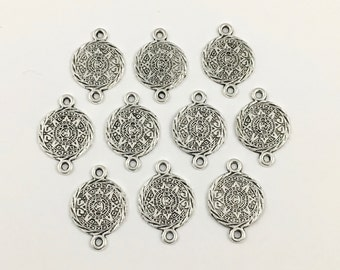 10 aztec calendar connectors,  antique silver,15mm x 25mm  #CON 025