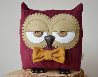 "Owl Cushion, Owl Pillow, Owl Decor, Owl Gift, Plush Owl, Stuffed Owl, Decorative Owl (Dark Berry with Custom Bow Tie) - ""Terry the Owl"""