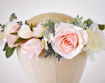 Blush flower crown Blush pink and ivory flower crown with greenery Wedding floral crown Pink floral crown Wedding hair wreath