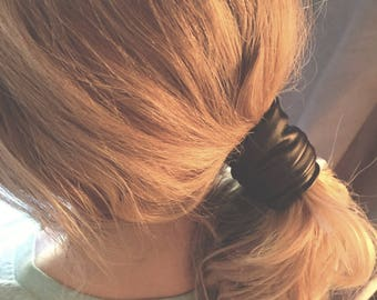 Black Faux Leather Ponytail Twist