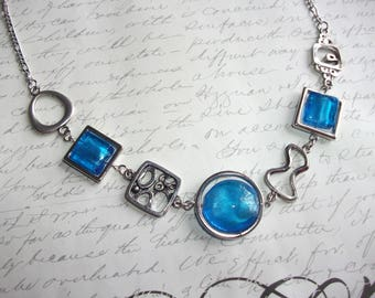 Turquoise blue necklace modern abstract style with stainless steel chain