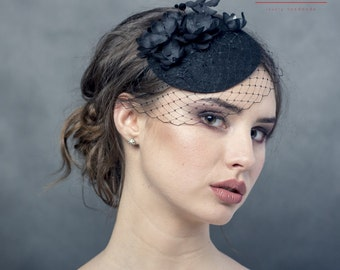 Black fascinator with handmade silk flowers and netting, small hat with flowers, race small pill box hat