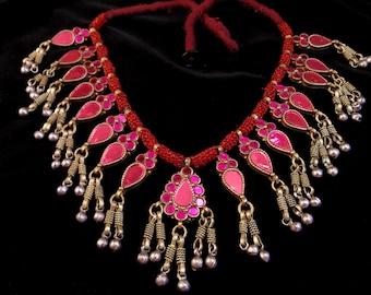 Vintage Beaded Kuchi Tribal Necklace - Afghani Ethnic Boho Statement Necklace