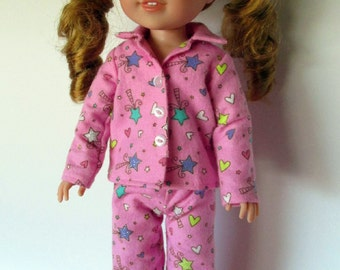 Handmade 14.5 doll clothes - Pink Sparkle Wand Pajamas, made to fit 14.5 inch dolls such as AG Wellie Wishers