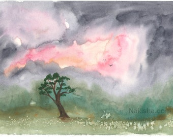 Morning Rain by The Old Apple Tree  - Original Watercolor Landscape Painting - Imaginary Landscape
