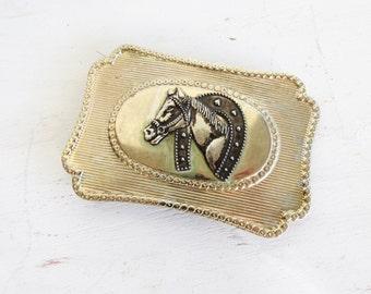 Vintage Horse Belt Buckle Horse Head and Horse Shoe