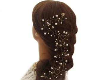 Tendril of hair hair vine tiara round beads, Bridal Hair Vine white pearls Wedding Jewelry Needle wedding tiara