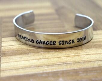 Beating Cancer Since / Cancer Survivor Bracelet / Hand Stamped Bracelet / Cancer Bracelet / Breast Cancer Gift / Mature Gift