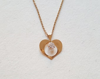 Super sweet little 18K gold heart pendant and chain, 1980s (F699)