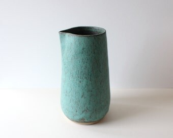 Sale: ceramic stoneware carafe vessel for water or wine / matte green / ready to ship