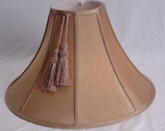 Antique Silk Lamp Shade With Tassel Octagonal Beige Bell Silk Lampshade 1940s Lighting Home Decor