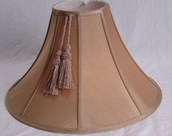 Antique Silk Lamp Shade With Tassel Octagonal Beige Bell Silk Lampshade 1940s Lighting Home Decor