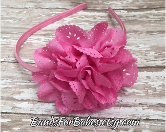 Pink Satin Wrapped Eyelet Flower Headband, Basic Headband, Flower Accessory, Hard Headband, Toddler Girls, Bubble Gum Pink Headband