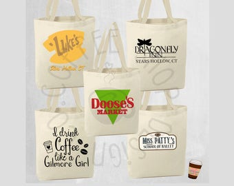 Gilmore Girls Tote Bags! 10 Different designs to choose from! Luke's Diner, Dragonfly Inn, Doose's Market, Kims Antiques, Miss Pattys & More