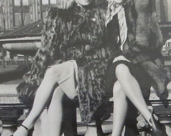 We're Hot And We Know It - Outstanding 1940's Pretty Ladies In Downtown Chicago Snapshot Photograph - Free Shipping