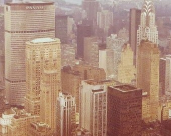 Vintage 1970's NYC New York City Skyscraper View Snapshot Photograph - Free Shipping