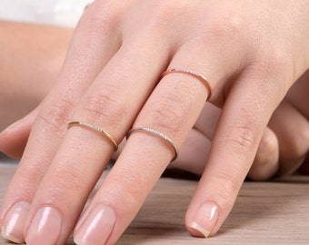 7 diamonds Knuckle ring, Ultra thin ring, Delicate diamond ring, Skinny ring,  Extra thin band, Diamond ring, Diamonds,   Rose thin ring