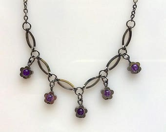 Choker Style Gunmetal and Purple Bead Flower Necklace - Vintage Short Necklace With Little Flowers and Purple Beads