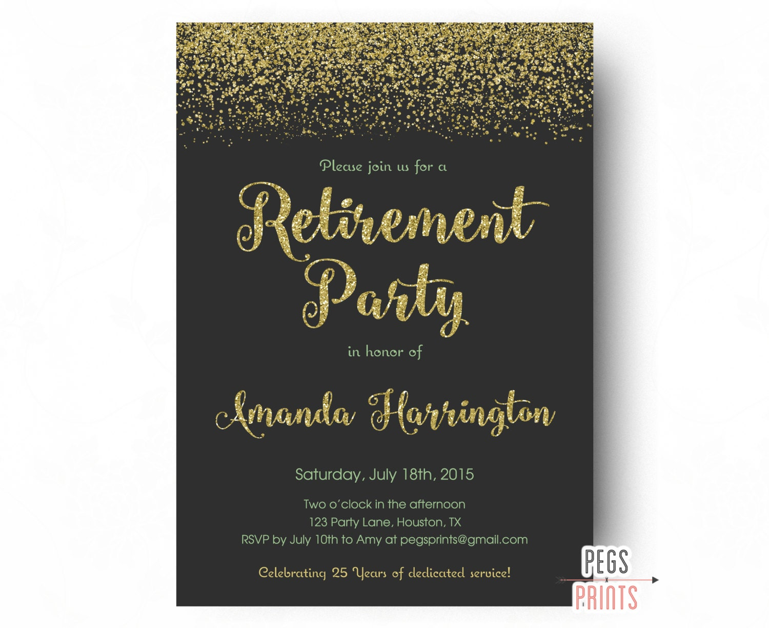 Retirement Party Invitation Gold Glitter and Mint Retirement