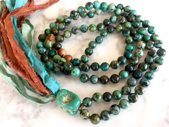 Boho Mala Beads African Turquoise Fragrant Sandalwood Silk Sari Tassel Necklace December Birthstone Throat Chakra Mala 108 Bead Yoga Jewelry