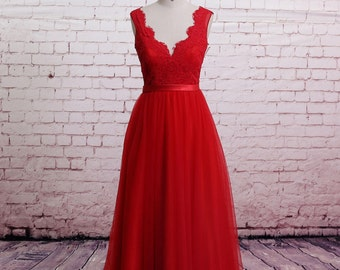 Classic Lace Evening Dress Brush Train Prom Dress A-line Red Bridesmaid Dress Sweetheart Party Dress