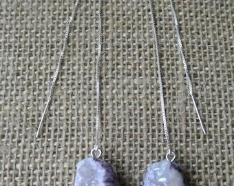 Amethyst Geode Thread Earrings