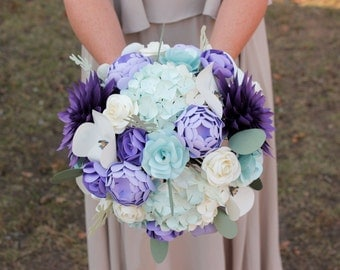 Paper Bridal or Bridesmaid Bouquet- Purple, Lilac, Ivory, Pale Green - Hand tied bouquet, Hydrangea Dahlia Ranunculus Poppy Roses Eucalyptus