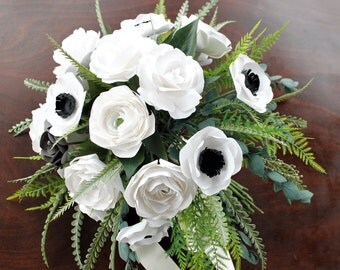 Cascade Paper Bridal Bouquet - White Flowers with Artificial Greenery - Hand tied bouquet, Roses, Ranunculus, Anemones