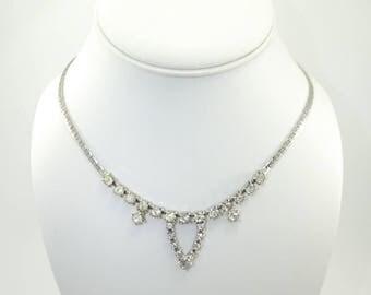 Vintage Rhinestone Necklace, Chain, Silver Tone