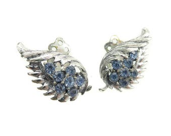 Vintage Blue Rhinestone Earrings, Silver Tone, Clip Ons