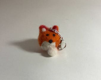 Fox Keychain or Purse Clip,Needle Felted Fox, Keychain for Fox Lover