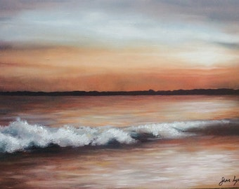 Original Oil Painting 'Crashing Waves at Sunset' - Welsh Art Work by Sam Lyle