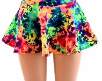 Acid Splash Bright Neon UV Glow Circle Cut Mini Skirt Rave Festival Clubwear EDM - 154089