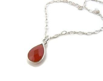 Necklace gift girlfriend silver necklace Gemstone choker Orange jewelry for her Carnelian necklace Silver orange necklace Simple necklace