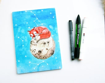 A5 notebook Fox 100 pages moon stars constellations traveller book planner stationery journal sketchbook gift idea little prince