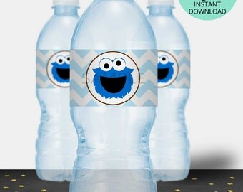 Cookie Monster Water Bottle Labels, Cookie Monster Label, Water Label, Cookie Monster Birthday, Cookie Monster Party, INSTANT DOWNLOAD #3956