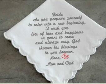 Bride's Wedding Handkerchief, mother of the bride, mother of the groom, personalize monogram, custom hankies,embroidered hanky,