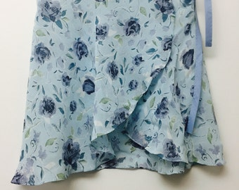 Pale and dark blue floral ballet wrap skirt-  Short