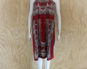 Vintage 1970's HSIN HSIN Garnet Red Scarf Print Tent Hippie Sundress Sun Dress S / M