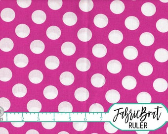 HOT PINK Polka Dot Fabric by the Yard Fat Quarter Pink and White Big Dots Fabric 100% Cotton Quilting Fabric Apparel Fabric Yardage a2-24